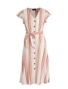 Yessica gestreepte linnen blousejurk ecru/roze