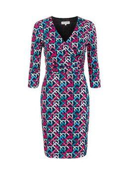Jersey jurk met all over print blauw