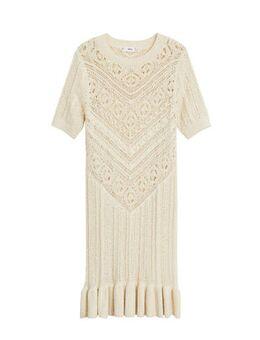 Ribgebreide jurk met volant ecru