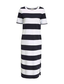 Edc Women gestreepte maxi jurk blauw