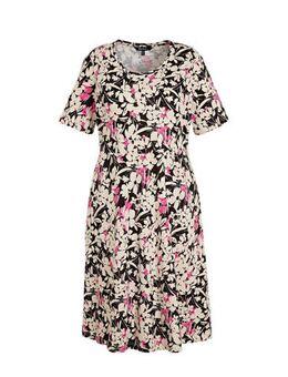 Gebloemde jurk zwart/ecru/roze