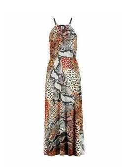 Halter maxi jurk met all over print zand