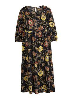 XL Yessica jurk met all over print zwart