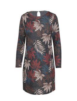 Jersey jurk met bladprint groen/rood/blauw