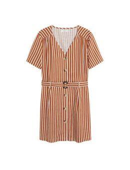 Gestreepte A-lijn jurk bruin
