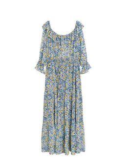Gebloemde off shoulder jurk blauw/paars/geel