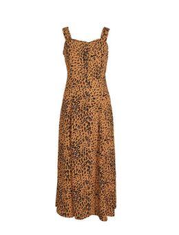 Yessica maxi jurk met panterprint bruin/zwart