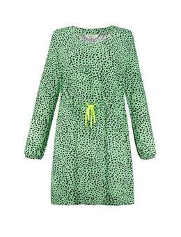 Jersey jurk met stippen groen/multi