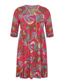 A-lijn jurk Melon met all over print en plooien roze/multi