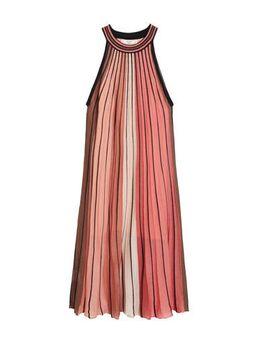 Gestreepte halter jurk roze