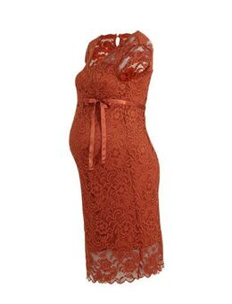 Zwangerschapsjurk Mivana met kant oranje