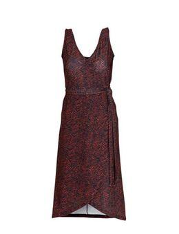 Wikkel-look jurk met zigzag print zwart/rood