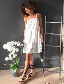 Mini dress with tie shoulder in white