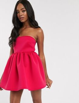 Super mini prom dress with built in bodysuit in fuchsia-Pink