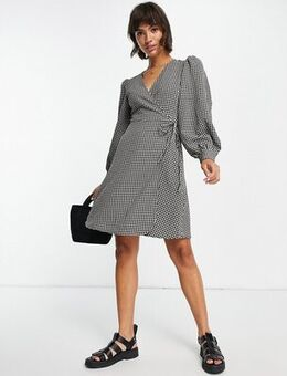 Femme wrap mini dress with volume sleeves in mono gingham-Multi