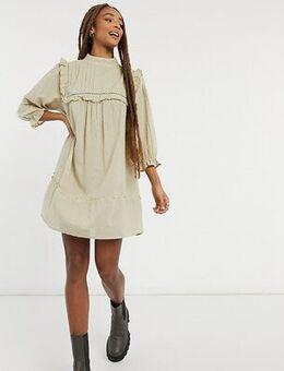 Inspired dobby mini dress with pintuck detail in ecru-Neutral