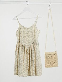 Mini cami dress in ditsy floral-White