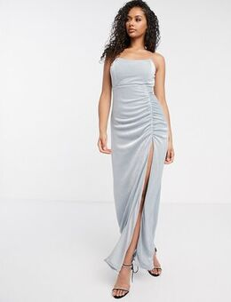 London strapless thigh split maxi dress in blue glitter