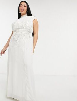 Bridal floral beaded and embroidered maxi dress with keyhole back in ivory-White