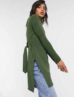 Roll neck mini jumper dress in khaki-Green