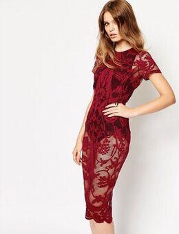ASOS Placement Lace Bodycon Midi Dress-Black