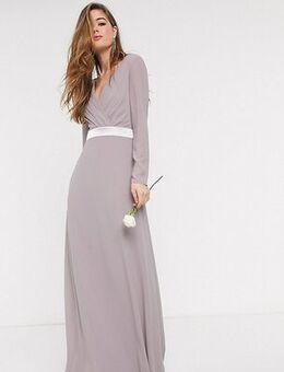 Bridesmaids long sleeve bow back maxi dress dress in grey