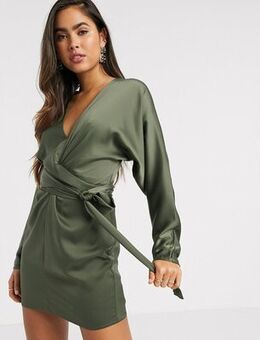 Mini dress with batwing sleeve and wrap waist in Khaki satin-Green