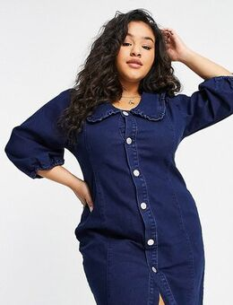 Denim mini dress with frill collar and popper front-Blue