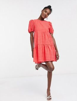 Tiered smock dress in check