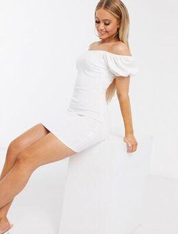 Volume sleeve mini dress in white