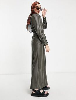 Leather look maxi shirt dress in olive-Green