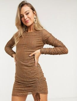 Mesh dress in stripe-Gold
