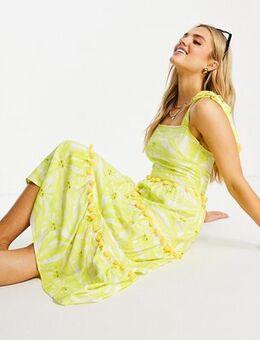 Tiered midi sun print dress with pom pom details in yellow