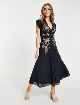 Plunge floral embroidered midi tea dress in navy