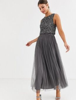 Bridesmaid delicate sequin 2 in 1 midaxi dress in dark grey