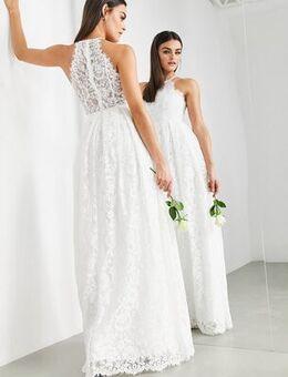 Amalie lace halter neck maxi wedding dress-White
