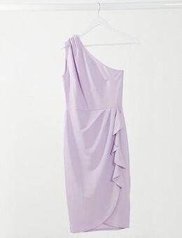 One shouder ruffle pencil dress in purple