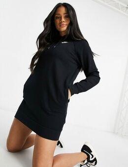 Long sleeve fleece hoodie dress in black-Grey