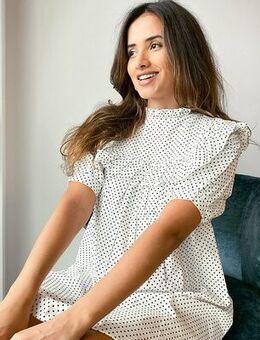 Ruffle bib mini dress in polka dot-White