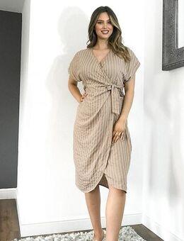 ASOS DESIGN Maternity linen wrap midi dress in stripe-Multi