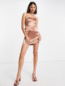 Bronze satin slip mini dress-Brown