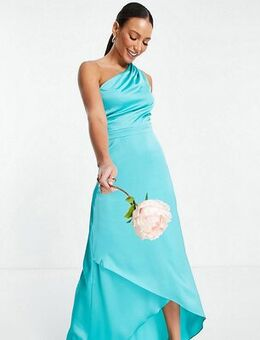 Bridesmaid one shoulder maxi dress in teal-Blue
