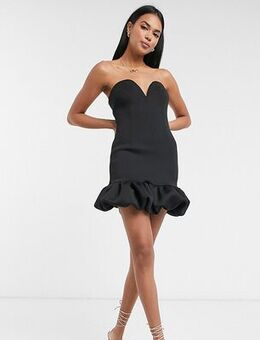 Puff hem mini dress in black
