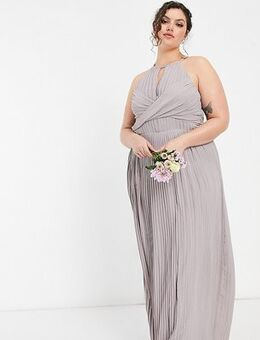 Bridesmaid pleated wrap detail maxi dress in grey