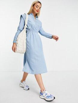 Femme midi dress with shoulder detail and tie waist in denim blue