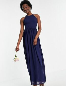 Bridesmaid high neck pleated maxi dress in navy