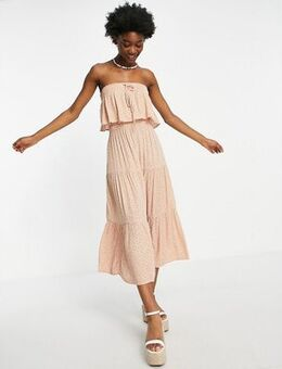 Strapless tiered midi dress in pink