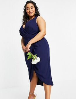 Bridesmaid wrap midi dress in navy