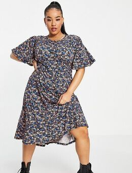 New Look Curve puff sleeve dress in floral-Multi