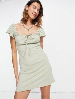 Ribbed fit and flare mini dress in green